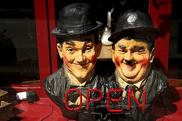Laurel and Hardy figures in a display window, Berlin, Germany, Europe