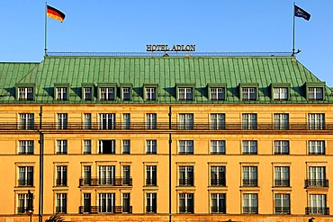 Detailed view of Adlon Hotel, flags, Berlin, Germany, Europe