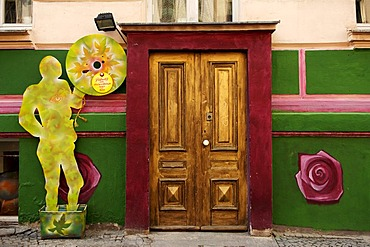 Painted entrance of a house in Berlin-Kreuzberg, Berlin, Germany, Europe