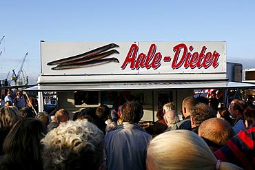 "Market stand ""Aale Dieter"" on the Fischmarkt, Altona, Hamburg, Germany"