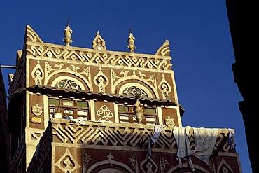 Facade, old town, Sana, Yemen