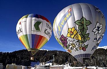 Hot-air balloons, Arosa, Graubuenden, Switzerland