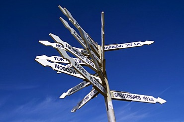 Direction signpost, Punakaiki, South Island, New Zealand