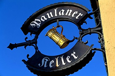 Sign of a tavern, Paulaner Keller Cellar, Nockherberg, Munich, Bavaria, Germany, Europe