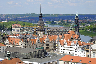 Dresden panorama and castle, Saxony, Germany, Europe