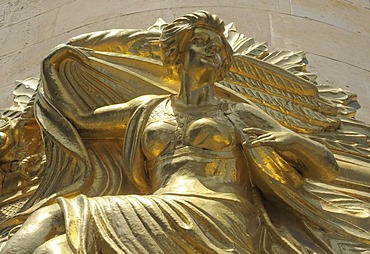 Golden statue of a woman on the Commerzbank building, Leipzig, Saxony, Germany, Europe