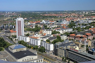 Leipzig city centre with Georgiring and the Wintergartenhochhaus Skyscraper, Saxony, Germany, Europe