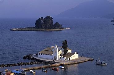 View of the Vlacherna Monastery from Kanoni, Corfu, Greece