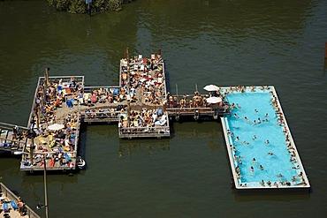 """Badeschiff"", ""bathing ship"", public swimming pool, river Spree, Berlin, Germany"