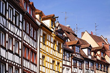 Weissgerbergasse Alley, half-timbered houses, historic city centre, Nuremberg, Middle Franconia, Bavaria, Germany, Europe
