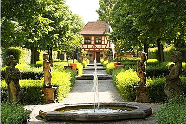 Fountains and sculptures, Hesperieden Gardens, St. Johannis area, Nuremberg, Middle Franconia, Bavaria, Germany, Europe