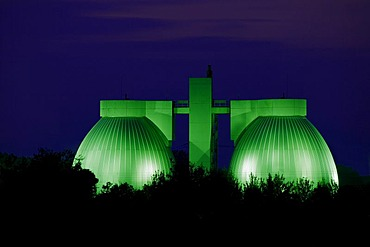 Sewage treatment plant, clearing sludge towers, twilight, Germany, North Rhine-Westphalia, Dortmund