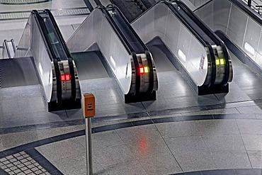 Subway station, moving stairways, night shot, Germany, North Rhine-Westphalia, Dortmund, Westfalenhallen
