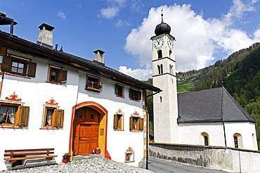 Village church in Valchava, Val Muestair, Muestertal, in Engadin, Graubuenden, Switzerland, Europe