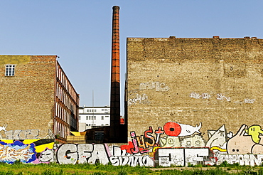 Brownfields or abandoned industrial premises with graffiti, Friedrichshain-Kreuzberg, Berlin, Germany, Europe