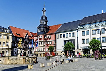 Town Hall behind the Marktplatz Square in Eisenach, Thuringia, Germany, Europe