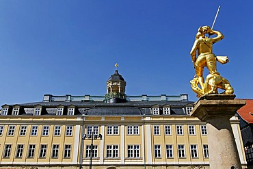 Statue of the patron saint St George in front of the Stadtschloss, Town Palace, Eisenach, Thuringia, Germany, Europe