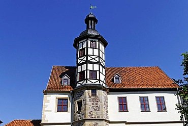 Alte Residenz, Old Residence, half-timbered tower, Eisenach, Thuringia, Germany, Europe