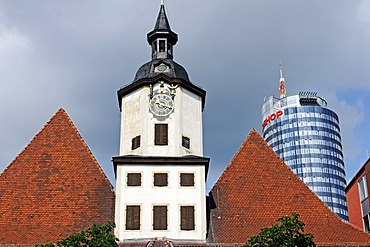 City Hall on the market square of Jena in front of Jentower, Thuringia, Germany, Europe