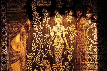 Artful golden ornamentation, Vat Xieng Thong Monastery, Luang Prabang, Laos, Asia