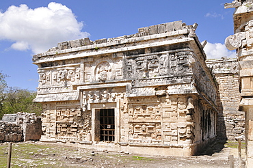 The Nunnery, side view, Zona Central, Chichen-itza, new wonder of the world, Mayan and Toltec archaeological excavation, Yucatan Peninsula, Mexico, Central America