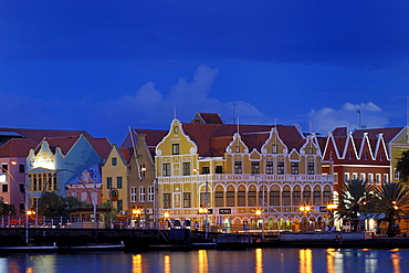 Evening in Willemstad, capital of Curacao and the Netherlands Antilles
