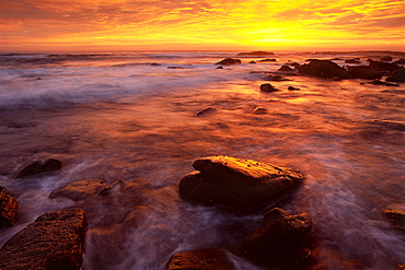 Sunrise over the surf at Bundjalung National Park, New South Wales, Australia, Oceania
