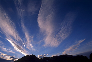 Foehn (chinook) clouds over the Sexten Dolomites, Bolzano-Bozen, Italy, Europe