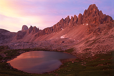 Alpine lakes, Mts. Paternkofel and Einserkogel, Sexten Dolomites, Bolzano-Bozen, Italy, Europe