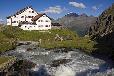 The new Regensburgerhuette (Regensburg Cabin), Stubai Alps, North Tirol, Austria, Europe