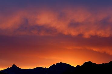 Sunrise over the Stubai Alps, North Tirol, Austria, Europe