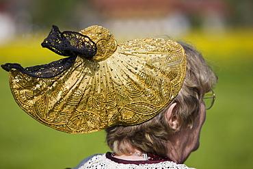 Woman wearing a golden bonnet at the Gauderfest 2008 Festival, Zell am Ziller, Zillertal Valley, North Tyrol, Austria, Europe