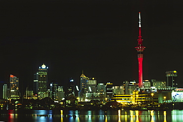 Skyline of Auckland at night, Auckland, North Island, New Zealand