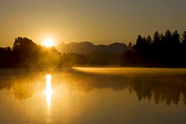 Sunrise on the Reintal Lake, Kramsach, North Tyrol, Austria, Europe