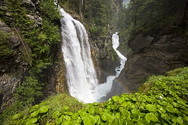 Uppermost cascade of the Reinbachfaelle Waterfalls, Rein in Taufers, Ahrntal Valley, Bolzano-Bozen, Italy, Europe