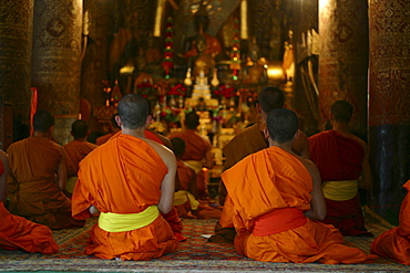 Evening prayer of the monks at temple Vat Xieng Thong in Luang Prabang, Laos