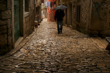 Cobble stone pavement in the old part of town, Rovinj, Croatia