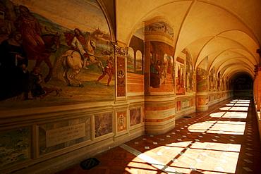 Cross-coat, cloister Abbazia di Monte, Oliveto Maggiore, Buonconvento, Tuscany, Italy