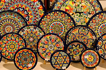 Plates in a souvenir shop in Sevilla, Andalusia, Spain, Europe