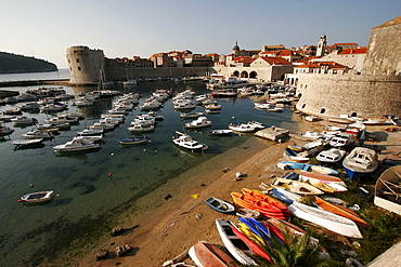 Harbour and old town, Dubrovnik, Croatia, Europe