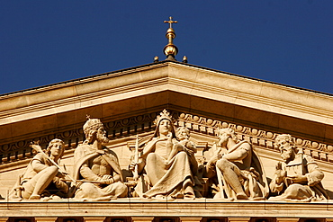 Detail from the facade of the St Stephans basilica in honour of the first Christian king Istvan (Stephan), Budapest, Hungary, Europe