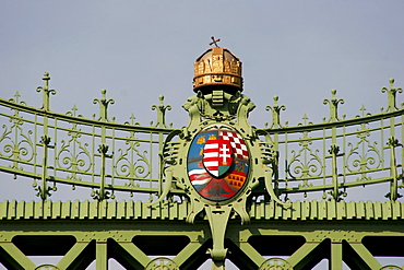 Hungarian coat of arms with crown on the Liberty bridge, Budapest, Hungary, Europe