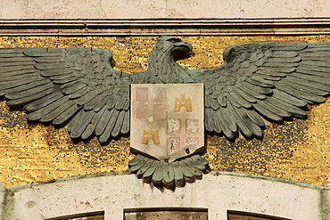 Coat of arms with eagle at the town hall, Cagliari Sardinia, Italy, Europe
