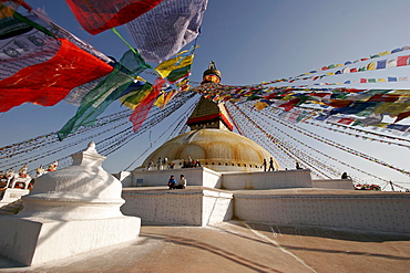 Prayer flags at the stupa of Bodnath, Kathmandu, Nepal, Asia