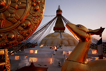Stupa at dusk in Bodnath, a northeastern suburb of Kathmandu, Nepal, Asia