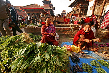 Produce seller in the historic centre of Patan-Lalitpur in Kathmandu Valey, Patan, Nepal, Asia