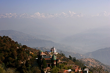 View of the Himalayas near Nagarkot village, famous for its view onto the Himalaya Mountains and especially Mount Everest, Nepal, Asia
