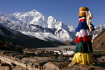 Rooftop view from the Temple in Kagbeni, a small mountain village along the popular Jomsom Trail, Kagbeni, Nepal, Asia