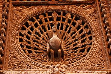 Peacock Window, wood carving in Bhaktapur, Nepal, Asia