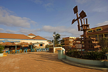 Windmill and cafe in tourist area at Santa Maria, Sal Island, Cape Verde, Africa